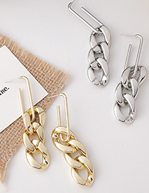 Fashion Gold Color Metal Chain Long Hollow Earrings