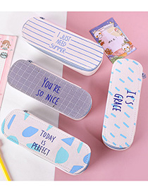 Fashion Square Pencil Case-white Pattern Printed Large-capacity Canvas Double-layer Pencil Case