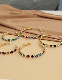 Fashion Blue Alloy Diamond C-shaped Circle Earrings