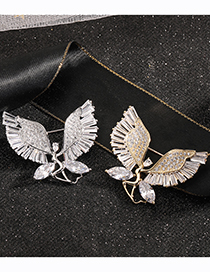 Fashion Gold Color Diamond Ballet Angel Gold Plated Brooch