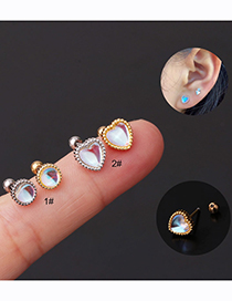 Fashion Peach Heart-gold Color Round Love Moonstone Stainless Steel Piercing Screw Stud Earrings