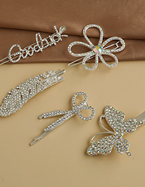 Fashion Silver Alloy Diamond Butterfly Feather Scissors Letter Hairpin Set