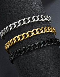Fashion Steel Color 3mm*18cm Polished Double-sided Cuban Chain 18k Gold Titanium Steel Bracelet (single Price)