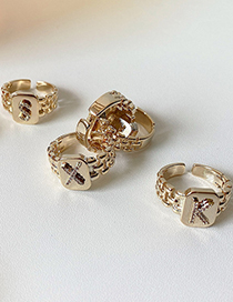 Fashion Z Gold Diamond Letter Chain Alloy Geometric Ring