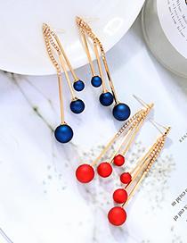 Fashion Matte Red Diamond Fringe Frosted Pearl Long Earrings