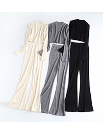 Fashion Off-white Solid Color Knitted Loose Straight-leg Pants