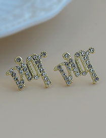 Fashion Golden Copper Inlaid Zircon Letter Earrings