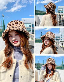 Fashion White Leopard Print Rabbit Fur Fisherman Hat