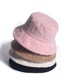 Fashion Pink Teddy Velvet Solid Dome Fisherman Hat