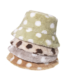 Fashion Beige Dot Print Plush Fisherman Hat