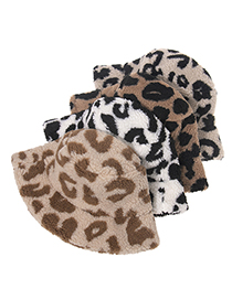 Fashion Light Brown Lamb Hair And Leopard Print Fisherman Hat