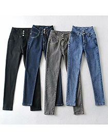 Fashion Gray Thickened Fleece High-waisted Breasted Slim-fit High-stretch Jeans