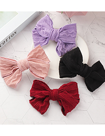 Fashion Red Wool Knitted Big Bow Hairpin