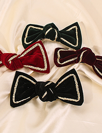 Fashion Dark Red Alloy Fabric Bow Hairpin