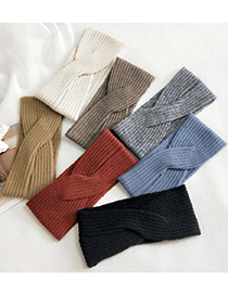 Fashion Cross Headband Lines Wide Side Solid Color Knitted Cross Elastic Headband