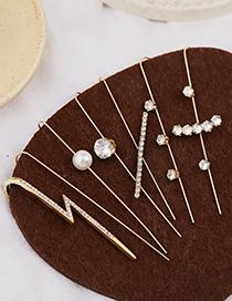 Fashion Golden 11 Real Gold-plated Diamonds Geometric Piercing Around The Ear Bone Clip