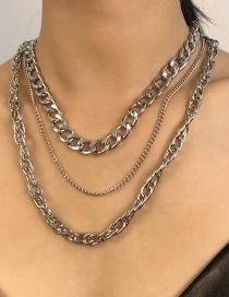 Fashion White K Alloy Multilayer Necklace