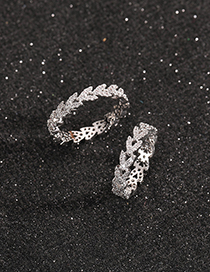 Fashion Simple Rhinestone Love Ring 15 Gold-plated Copper Ring With Diamond Heart
