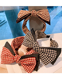 Fashion Black Plaid Wide-sided Letter Color Matching Double-layer Bow-knot Lattice Headband