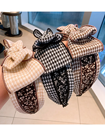 Fashion Black Houndstooth Houndstooth Plaid Double-layer Large Bow-knot Fabric Wide-brim Hair Band
