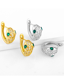 Fashion Silver Snake-shaped Gold-plated Copper Earrings With Zircons