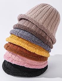 Fashion Pink Double-sided Knitted Lamb Wool Fisherman Hat