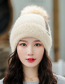 Fashion Red Knitted Hat With Three Bars Of Woolen Yarn