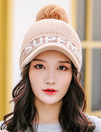 Fashion Yellow Knitted Cap With Fleece And Ear Protection Letters