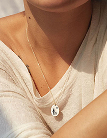 Fashion Steel Color Jt-e10 Stainless Steel Oval Glossy Pendant Geometric Necklace 13*9mm