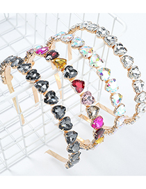 Fashion Ab Color Alloy Heart Inlaid Glass Diamond Headband