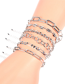 Fashion Silver F Thick Gold-plated Copper Geometric Bracelet