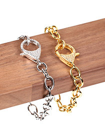 Fashion Silver Copper Gold-plated Bracelet With Diamond Spring Clasp Thick Chain