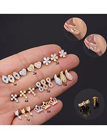 Fashion Silver 7# Stainless Steel Threaded Geometric Flat Bottom Micro-inlaid Zircon Lip Nail