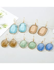 Fashion Geometric Brown Round Crystal Irregular Faceted Glass Edging Earrings