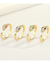 Fashion Green Copper Micro-inlaid Zircon Snake Real Gold Plating Open Ring