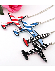 Fashion Red Striped Airplane Resin Necklace