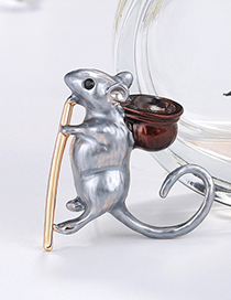Fashion Gray Alloy Mouse Brooch