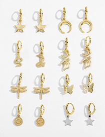 Fashion Flowers Animal Geometric Five-pointed Star Alphabet Alloy Earrings