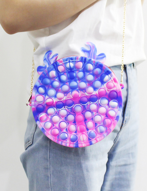 Fashion 20cm Rose Red Blue White Fawn Bag G035-04 Tie-dye Finger Press Bubble Music Messenger Bag