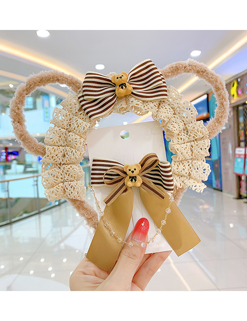 Fashion Knitted Bow Hairpin Children's Knitted Bow Bear Hairpin