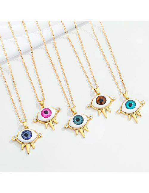 Fashion Light Blue Crown Eye Necklace