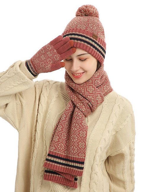 Fashion Iron Embroidery Red Knitted Scarf Hat And Gloves Three-piece Set