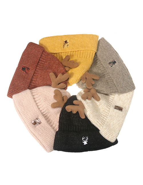 Fashion Caramel Colour Christmas Antlers Knitted Wool Hat