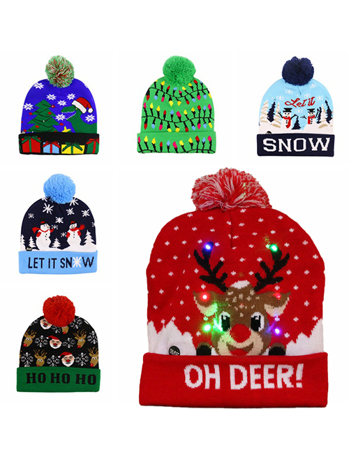 Fashion Let It Snow (live) Christmas Snowman Elk Christmas Tree Flanged Knitted Hat With Ball