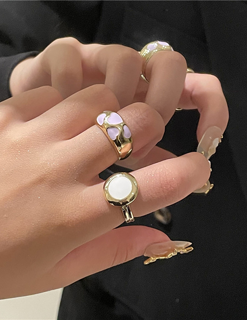 Fashion White Disc Alloy Dripping Geometric Ring