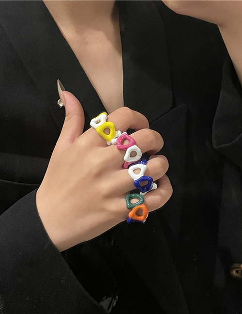 Fashion Color Spray Paint Dripping Color Matching Open Ring