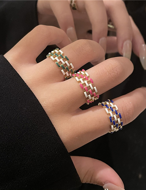 Fashion Red Colorful Drip Oil Braided Bracelet Ring