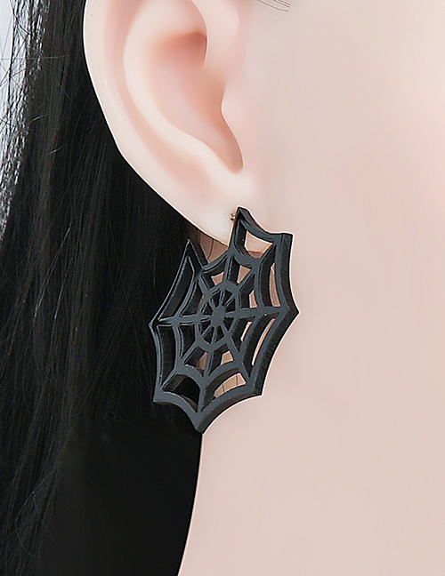 Fashion Black Card Skull Acrylic Plate Ghost Spider Skull Bat Earrings