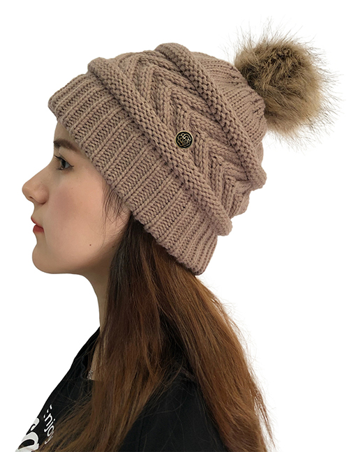 Fashion Khaki Knitted Cap With Fur Ball Buttons