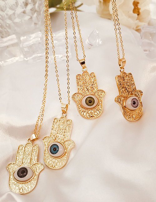 Fashion Dark Blue Copper Plated Real Gold Palm Eye Necklace